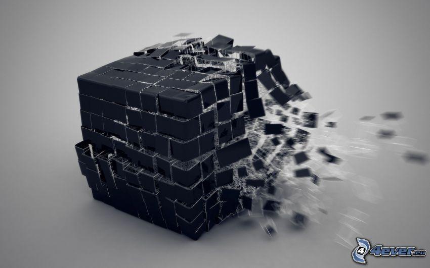 cubo, explosión