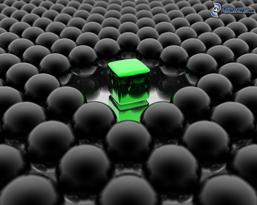 cubo, verde, bolas metálicas