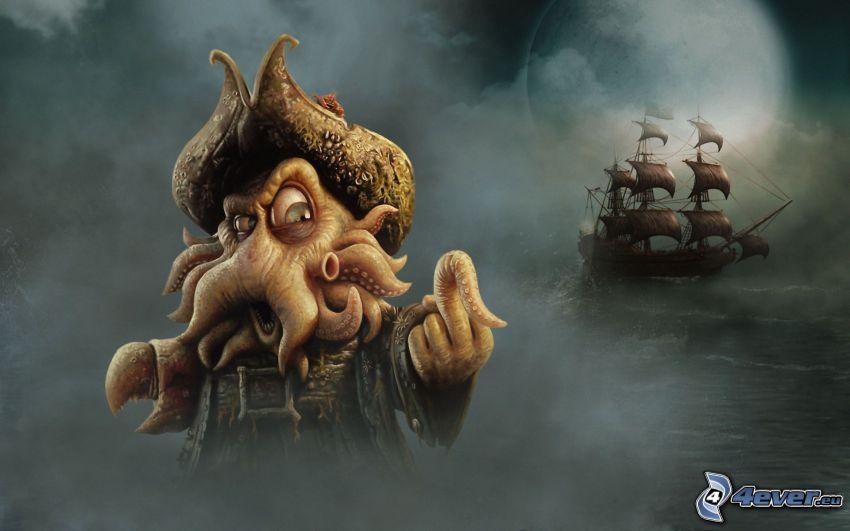 Davy Jones, caricatura, Piratas del Caribe, velero, gesto