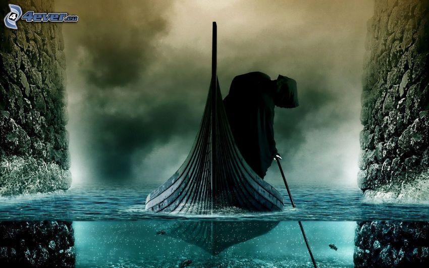 descarnada, barco, agua, humo