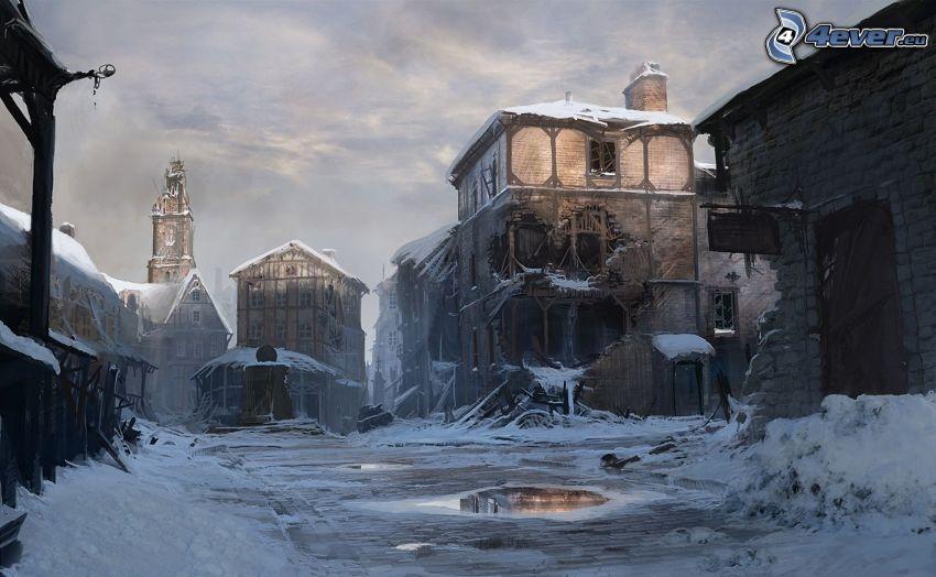 edificios antiguos, nieve