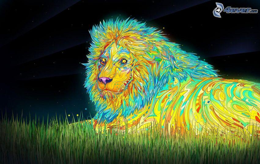 el león animado, colores, hierba, noche, estrellas