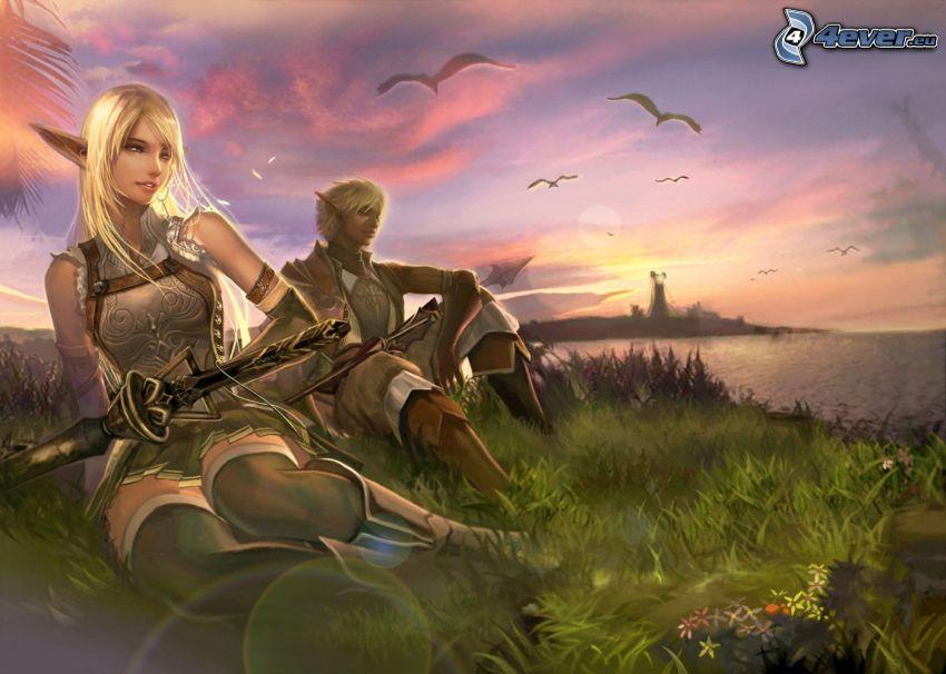 elfos, costa, puesta del sol