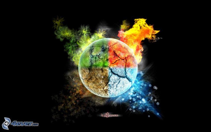 estaciones de año, elementos, bola