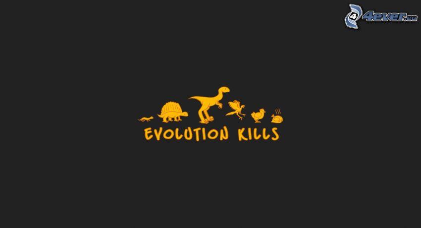 evolution kills, evolución, dinosaurio, pollo asado