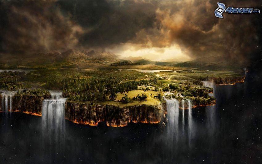 Fin del Mundo, mundo plano, cascada