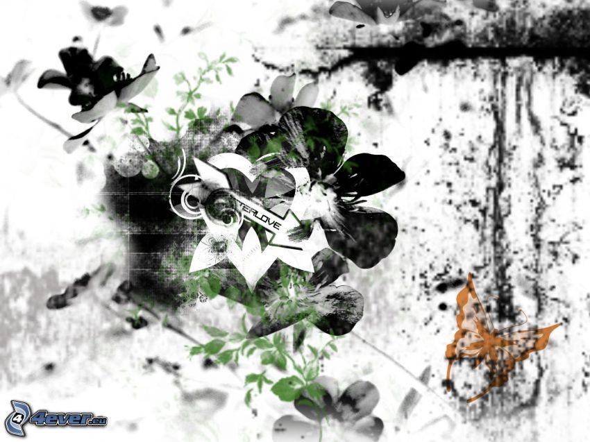 flor, corazón, mariposa