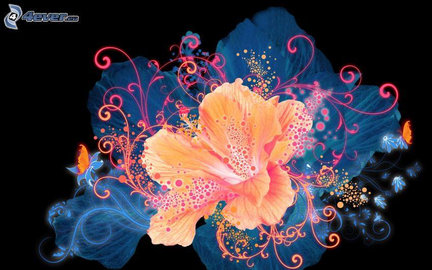 flores abstractas, flores digitales
