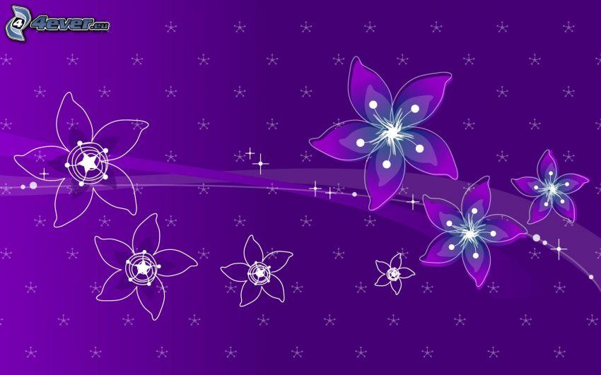 flores digitales, fondo morado
