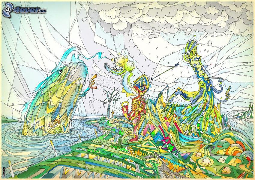 formas de colores, pez, agua, euro
