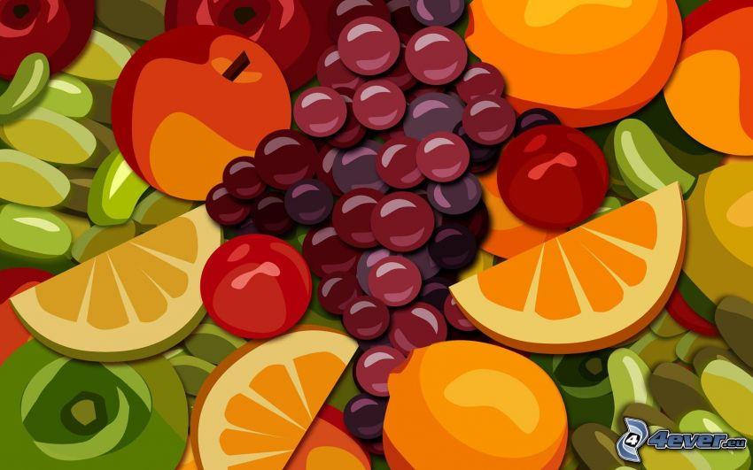 fruta, uvas, naranja