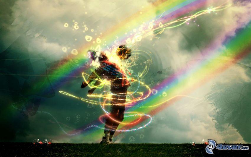 futbolista, arco iris