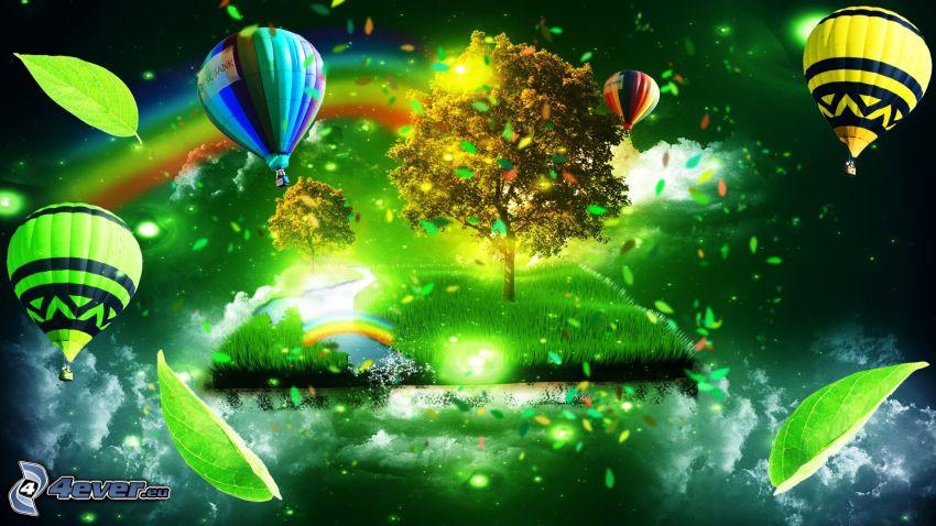 globos de aire caliente, árbol solitario, hojas