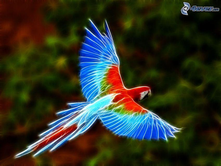 Guacamayo Ara, animales de Fractal, pájaro fractal