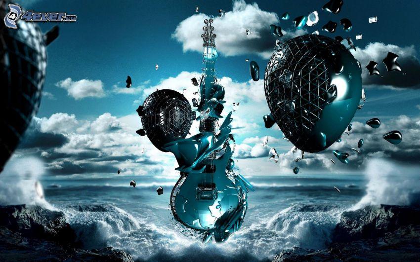 guitarra, arte digital, mar