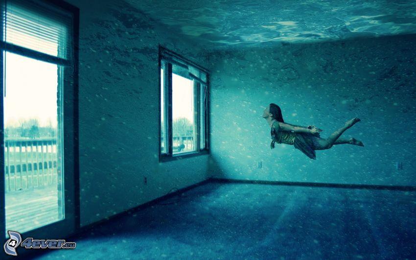 habitación inundada, mujer, nadar bajo el agua