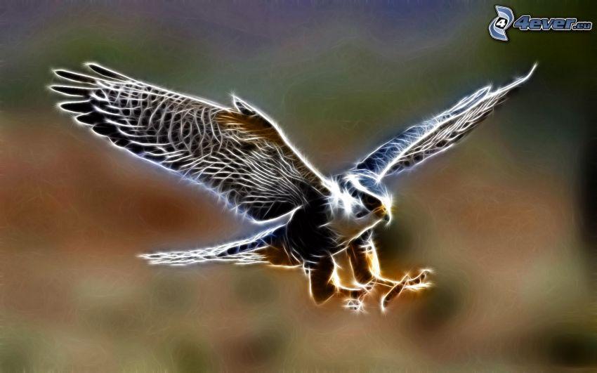 halcón, pájaro fractal, alas