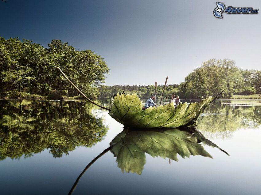 hoja verde, barco, lago, nivel de aguas tranquilas