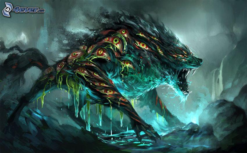 hombre lobo, ojos, rugido