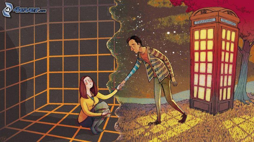 hombre y mujer, cabina telefónica, apretón de manos