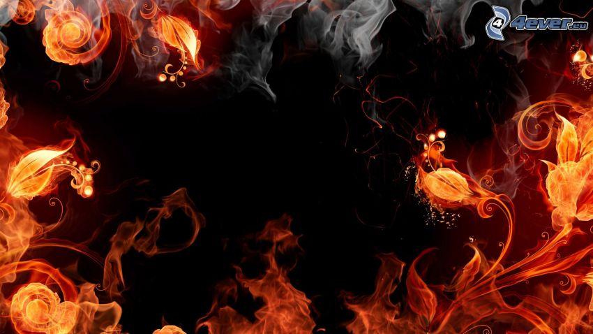 incendio, flor de fuego, humo