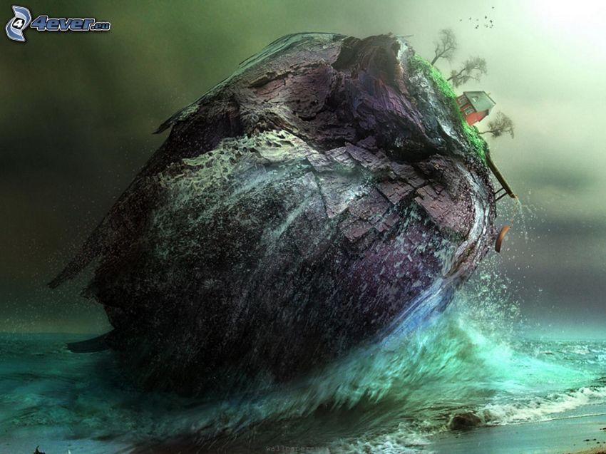 isla rocosa, casa, árboles, mar