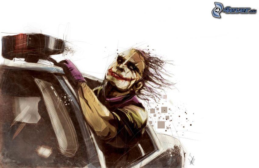 Joker, coche, ventana