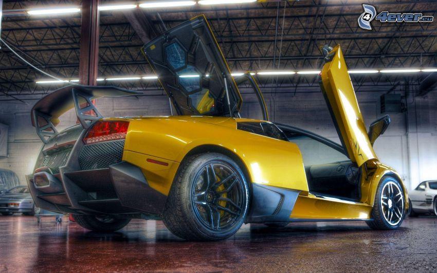Lamborghini, puerta, HDR
