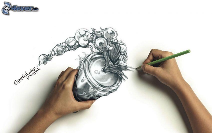 lata, burbujas, manos, lápiz