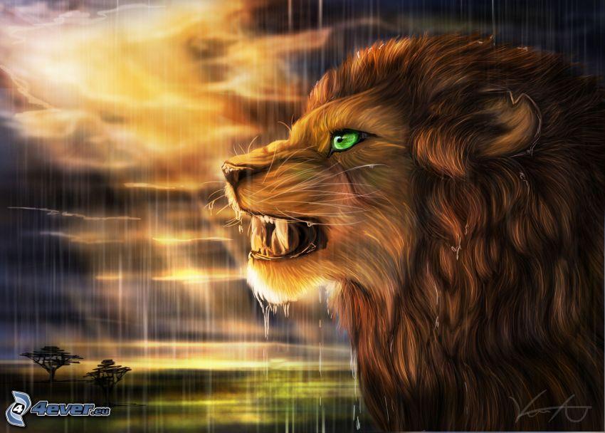 león fractal, tormenta, rayos de sol