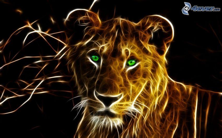 leona, animales de Fractal