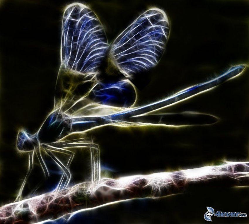 libélula, animales de Fractal