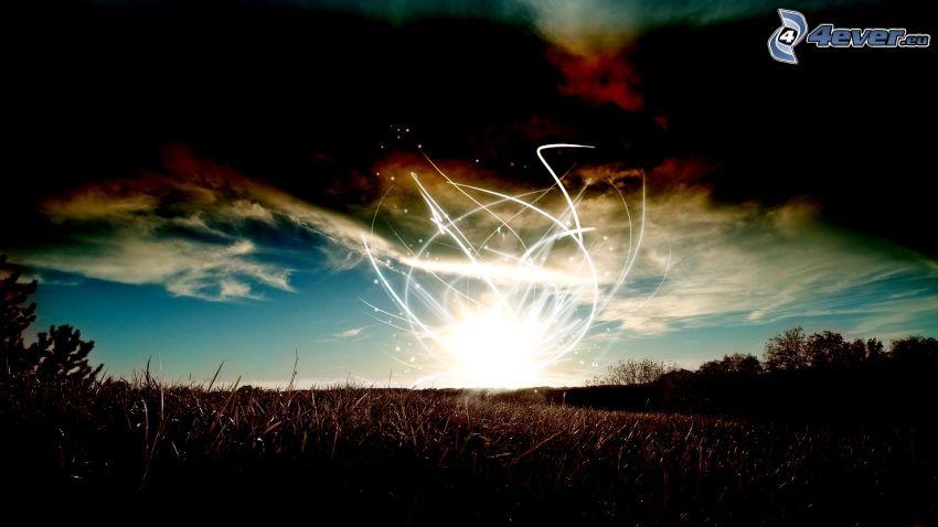 líneas blancas, campo, nubes