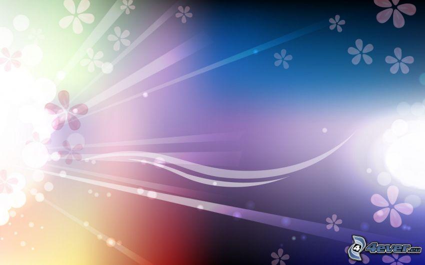 líneas blancas, flores digitales