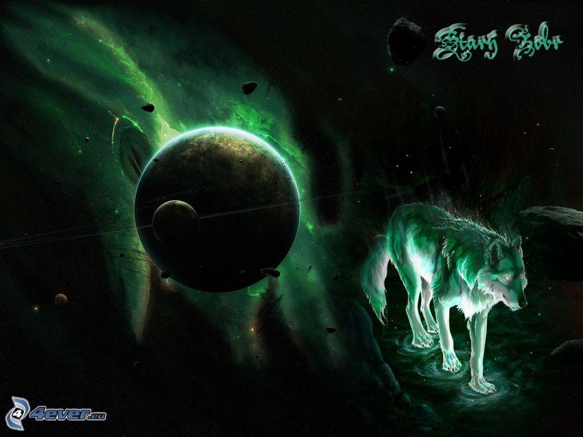 lobo en dibujos animados, universo, planetas