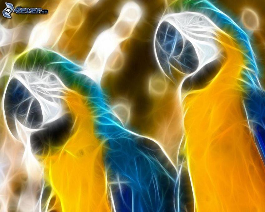 loros, animales de Fractal, pájaro fractal