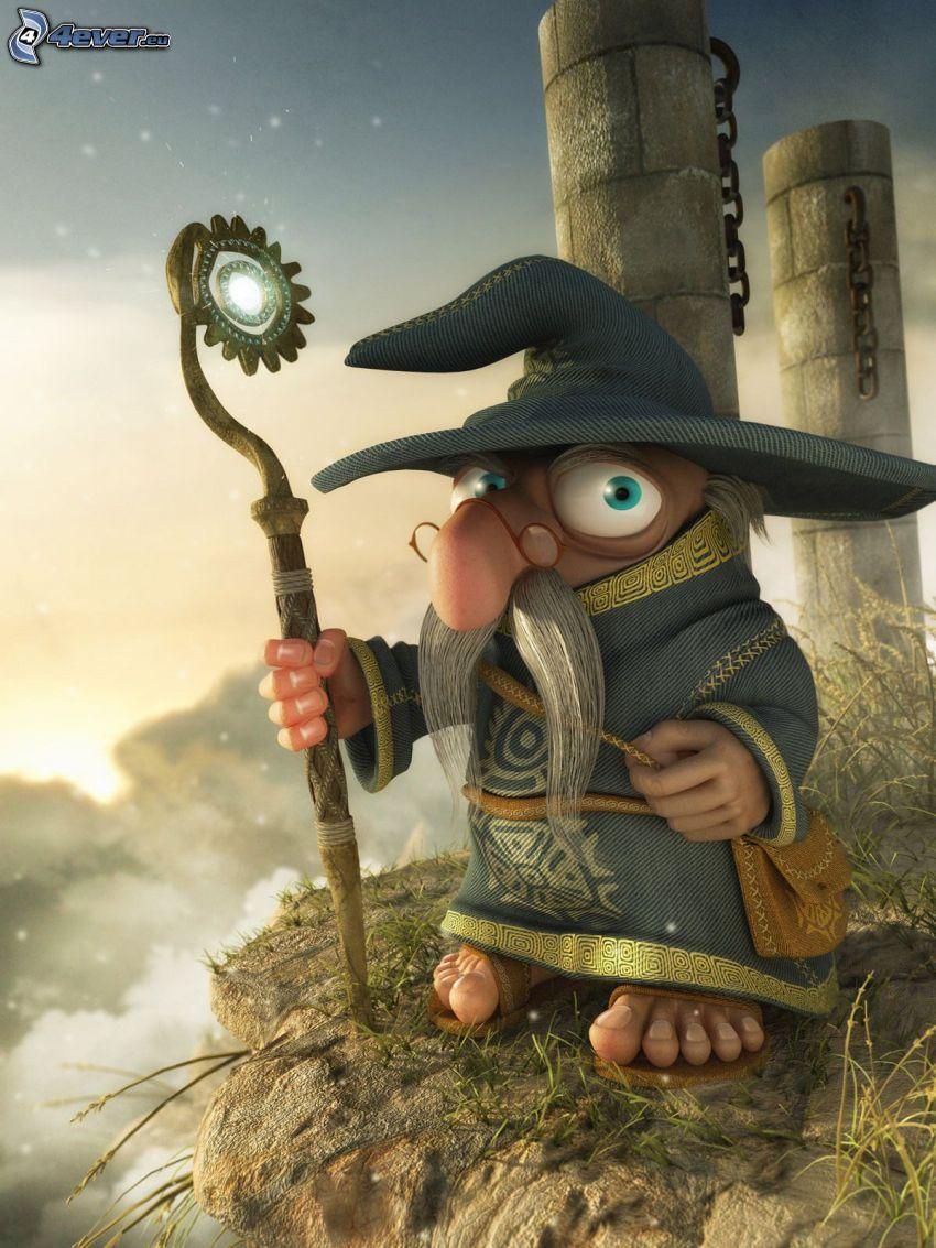 mago, abuelo, Personaje de dibujos animados