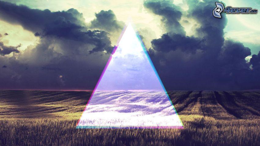maizal, triángulo, nubes