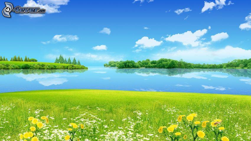 mar, islas, prado, nubes
