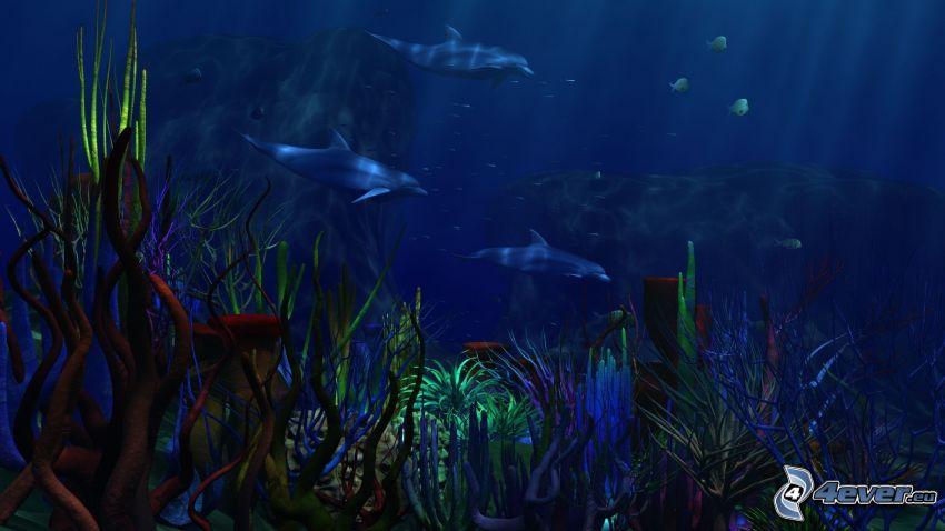 mar oscuro, fondo del mar, delfines, alga marina