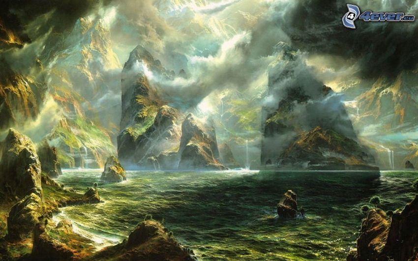mar oscuro, rocas