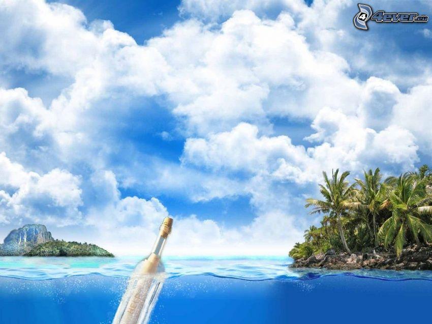 mensaje en una botella, botella en el mar, islas