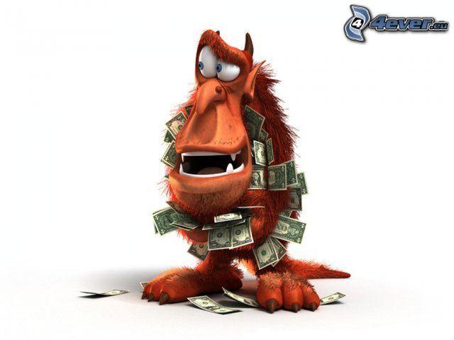 monstruo, dinero, dólares