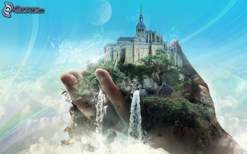 Mont Saint-Michel, castillo, roca, verde, mano