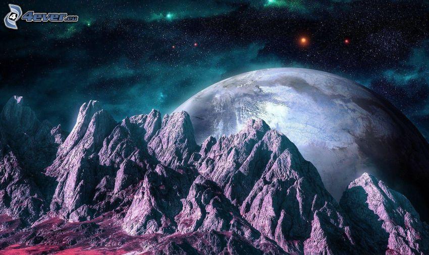 montaña rocosa, planeta, cielo estrellado