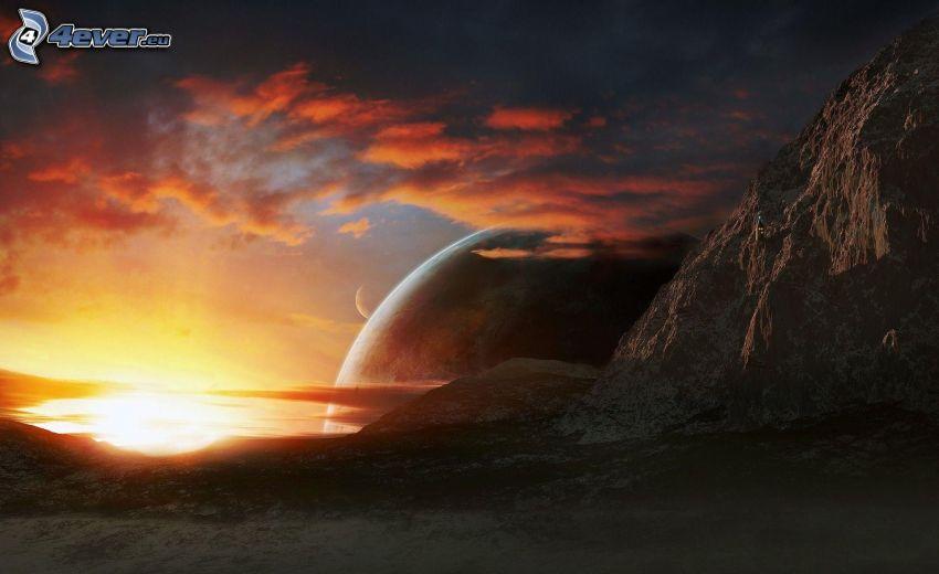 montaña rocosa, planeta, puesta del sol