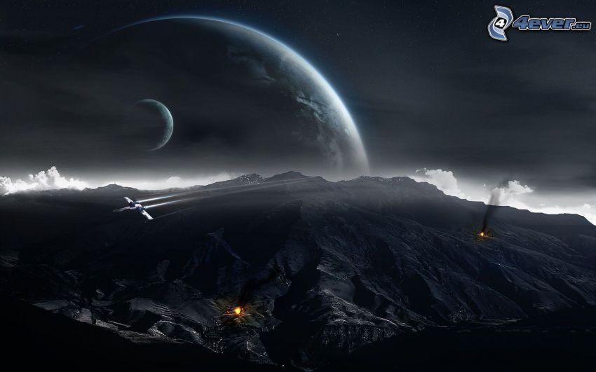 montaña rocosa, planetas, avión