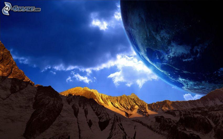 montaña rocosa, Tierra, nubes
