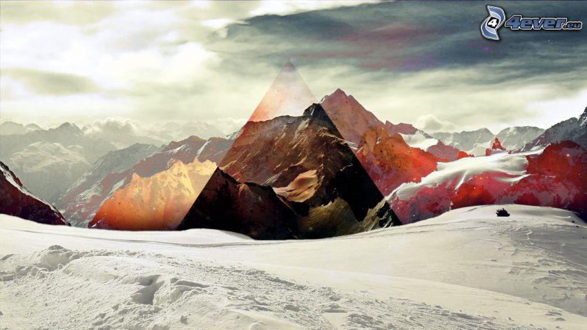 montañas nevadas, triángulo