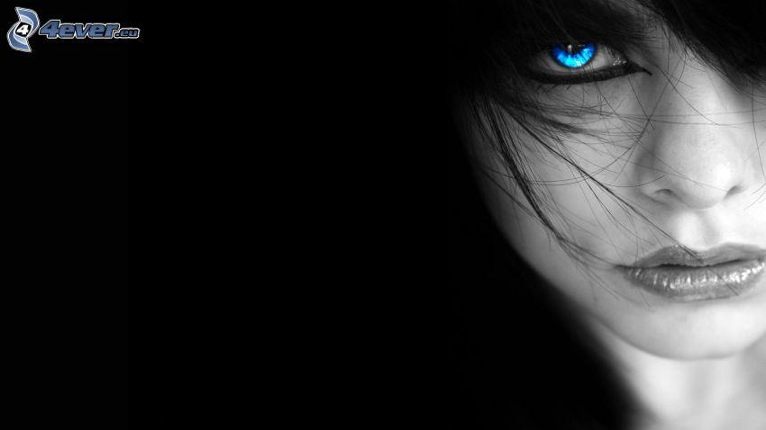 morena, mirada, ojo azul